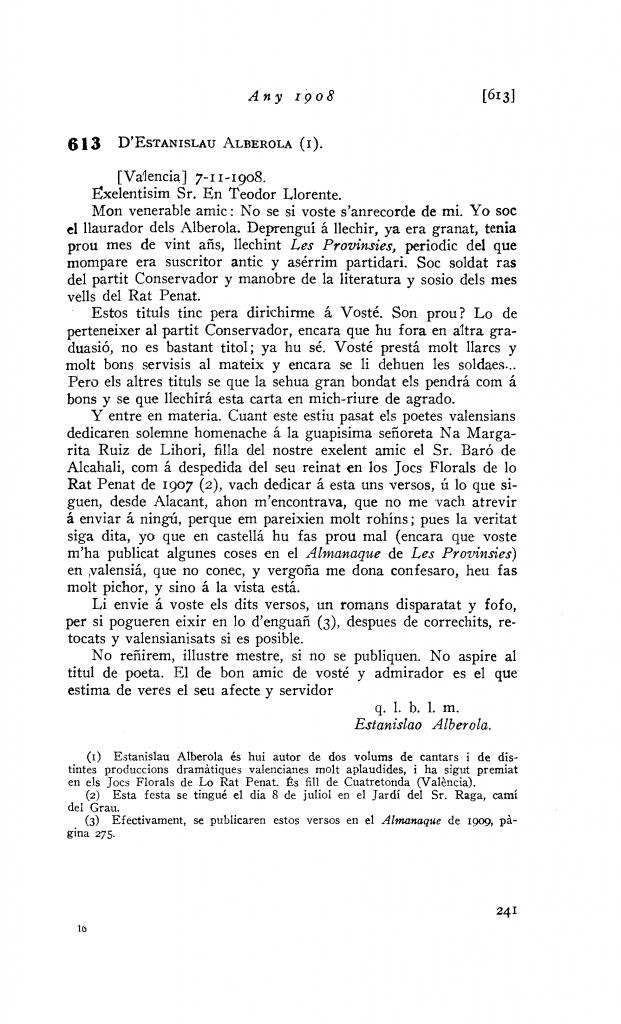 Carta d'Estanislao Alberola a Llorente